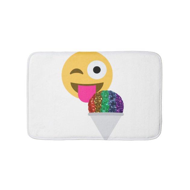 Glitter Wink Emoji Bathroom Bathmat Bath Mat Zazzle Com