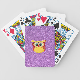 Glitter with Owl Bicycle Playing Cards