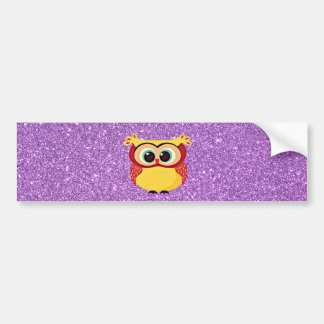 Glitter with Owl Bumper Sticker