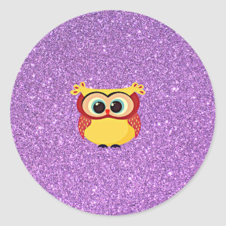 Glitter with Owl Classic Round Sticker