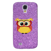 Glitter with Owl Galaxy S4 Case