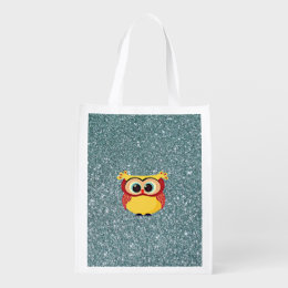 Glitter with Owl Grocery Bag