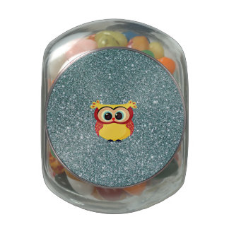 Glitter with Owl Jelly Belly Candy Jar