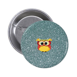 Glitter with Owl Pinback Button
