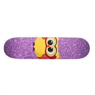 Glitter with Owl Skateboard