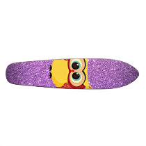 Glitter with Owl Skateboard Deck