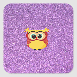 Glitter with Owl Square Sticker