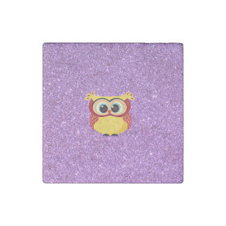 Glitter with Owl Stone Magnet