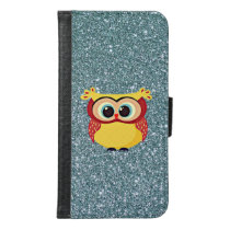 Glitter with Owl Wallet Phone Case For Samsung Galaxy S6