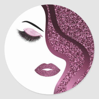 Glitter woman classic round sticker