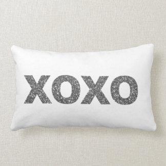 Glitter XOXO Silver Lumbar Pillow