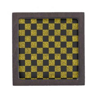 Glitter yellow and black checkered pattern premium gift boxes