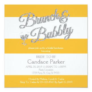 Glitter, Yellow Bridal Shower Invitations