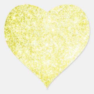 Glitter Yellow Heart Sticker