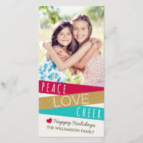Glitter Zig Zag Holiday Photo Card / Red Aqua