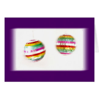 Glitterballs Spinning Purple Background Greeting Card