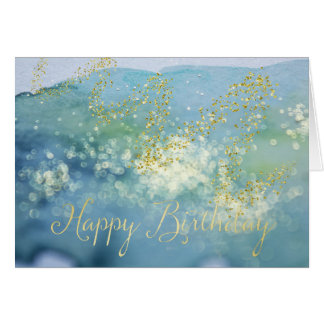 Glittered Blue Watercolor Birthday Card