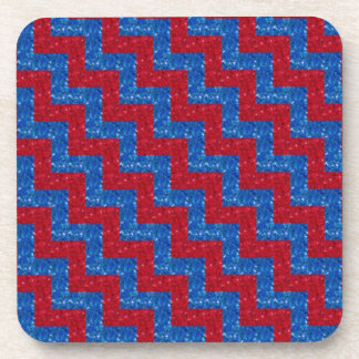 Glittered Chevron Red and Blue Coaster