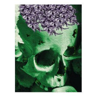 Glittered Green Skull with Purple Posy Hat Postcard