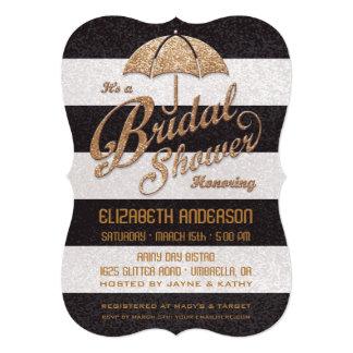 Glittering B&W Bold Stripes Bridal Shower Invite