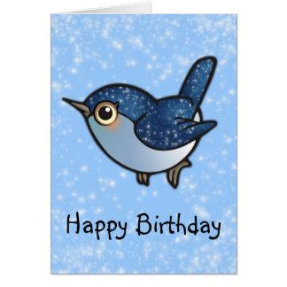Glittering Blue Bird - Birthday Card