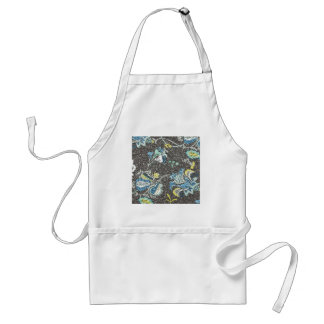 Glittering Blue & Yellow Floral Against Grey Adult Apron