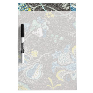 Glittering Blue & Yellow Floral Against Grey Dry-Erase Board