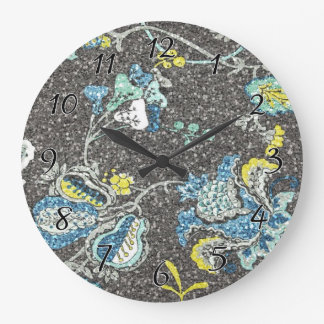 Glittering Blue & Yellow Floral Against Grey Large Clock