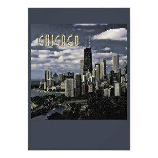 Glittering Chicago Skyline TEXT Chicago Card