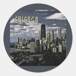 Glittering Chicago Skyline TEXT Chicago Classic Round Sticker