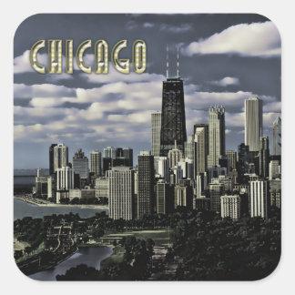 Glittering Chicago Skyline TEXT Chicago Square Sticker