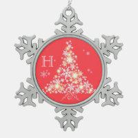 Glittering Christmas Tree Family Monogram Ornament