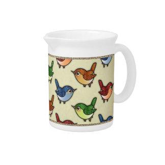Glittering Colourful Birdies Pattern Pitcher