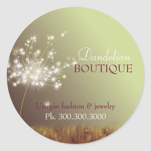 Glittering Dandelions Business Product Labels Classic Round Sticker