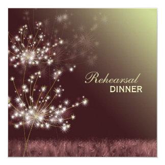 Glittering Dandelions Wedding Rehearsal Dinner Invitation