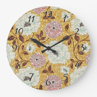 Glittering Fall Floral Brocade Tapestry Large Clock