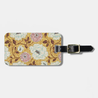 Glittering Fall Floral Brocade Tapestry Luggage Tag
