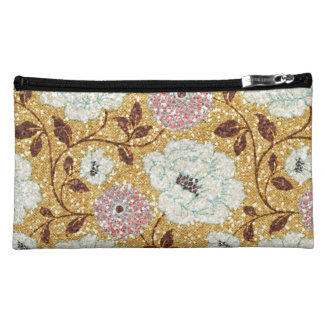 Glittering Fall Floral Brocade Tapestry Makeup Bags
