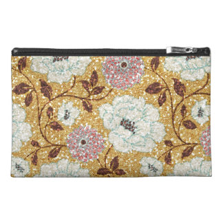Glittering Fall Floral Brocade Tapestry Travel Accessories Bag