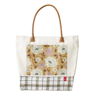Glittering Fall Floral Brocade Tapestry Zazzle HEART Tote Bag