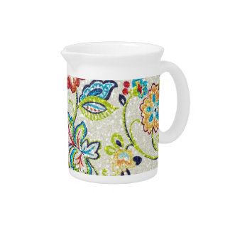 Glittering Flowers for Mom Drink Pitcher