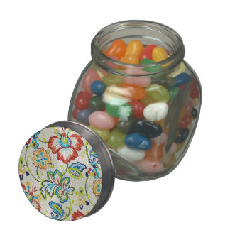 Glittering Flowers for Mom Glass Candy Jar