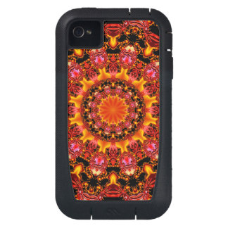 Glittering Gold, Abstract Amber Red Jewels iPhone4 Case