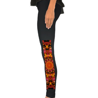 Glittering Gold, Abstract Amber Red Jewels Legging Tights