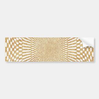 Glittering Gold Distorted Checkered Pattern Bumper Sticker