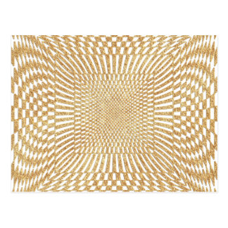Glittering Gold Distorted Checkered Pattern Postcard