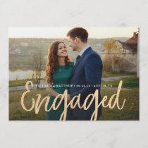 Glittering Gold Engagement Photo Announcement
