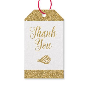 Beach Themed Glittering Gold Gift Tags - Thank You, Sea Shell