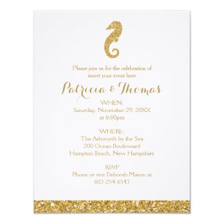 Glittering Gold Invitations | Sea Horse