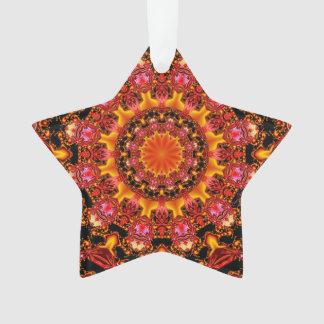 Glittering Gold Mandala, Abstract Red Orange Amber